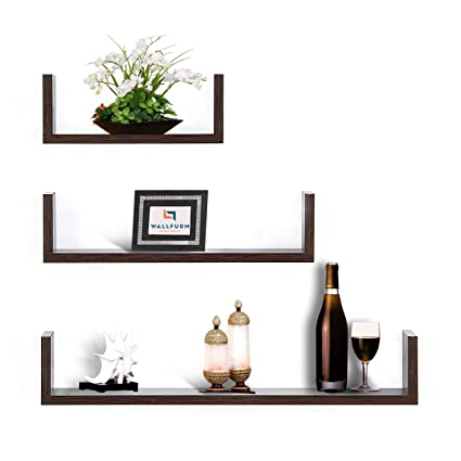 wallfurn majesty set of 3 wall shelves u shape mdf wooden floating rh amazon in 3 inch deep wall shelves 3 piece wall shelves