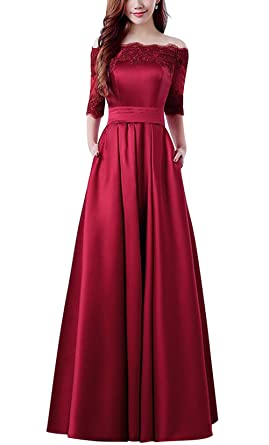 c65d3be49a Women Off Shoulder Half Sleeves A line Burgundy Prom Bridesmaid Dress