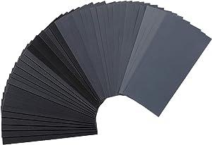 42 PCS Premium Wet Dry Sandpaper 120 to 3000 Assorted Grit Sand paper, 9 x 3.6 Inch Assorted Grit Sandpaper for Wood Furniture Finishing, Metal Sanding and Automotive Polishing, Sander Sheets
