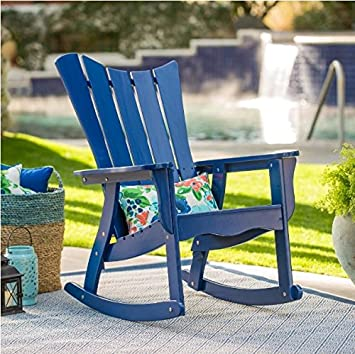Exceptionnel Outdoor Ocean Wave Adirondack Wood Rocking Chair 34.25W X 29.13D X 43.11H In