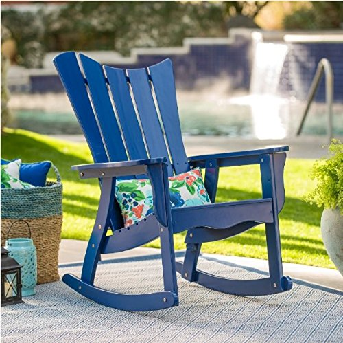 Outdoor Ocean Wave Adirondack Wood Rocking Chair 34.25W x 29.13D x 43.11H in. – Cobalt Review