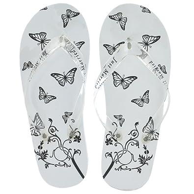 6f8dc803c Brides Companion Ladies White   Butterfly Just Married Honeymoon Imprint Flip  Flops (Large UK 6