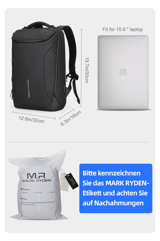 MARK RYDEN Mochila Impermeable para Hombres portátiles. Mochila Moderna para Viajes universitarios al Aire Libre con Puerto USB y portátil de 17.3 ...