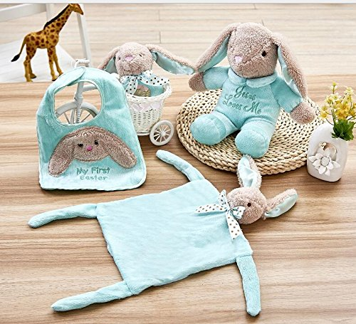 Showking Cute Comforters Toy Cotton Towel Soft Hand Towel Baby Comforter Toys Plush Cute Hip Hop Bear Toy 4 pcs/set_Light Green