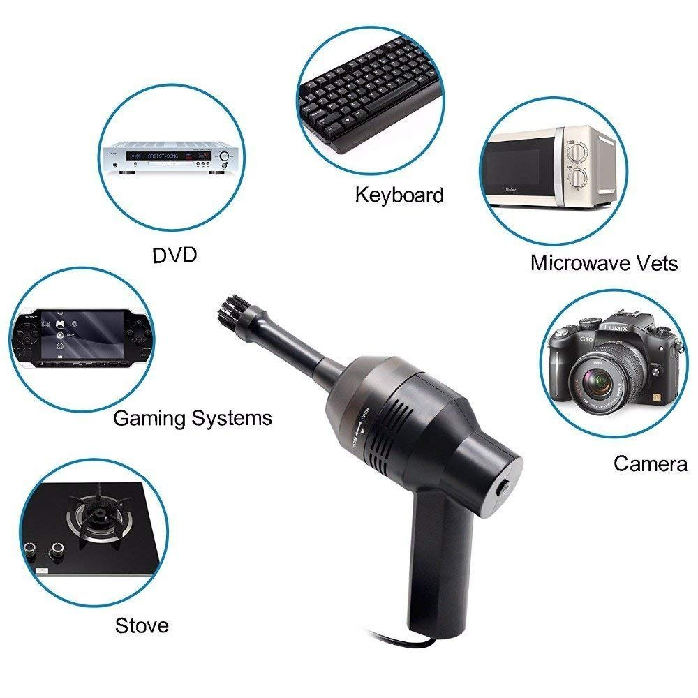 ELM Game Mini Vacuum Cleaner, USB Keyboard Vacuum with Two Replaced Nozzle for Cleaning Keyboard Dust,Bread Crumbs,Paper Scrap,Eraser Crumbs,Cigarette Ash,Makeup Bag,Car Device,Pet House