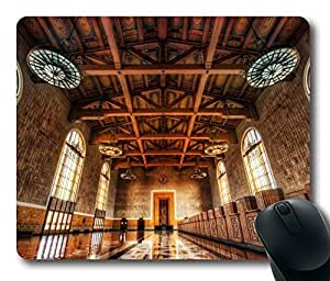 Gaming Mouse Pad Across The Floors Of Union Station Oblong Shaped Mouse Mat Design Natural Eco Rubber Durable Computer Desk Stationery Accessories Mouse Pads For Gift Support Wired Wireless or Bluetooth Mouse