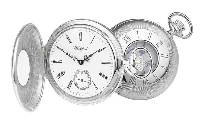 Plateado Albert mitad Hunter Swiss reloj de bolsillo de Woodford: Amazon.es: Relojes