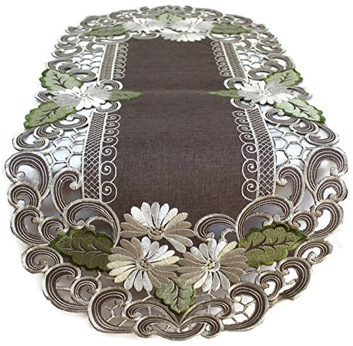 BANBERRY DESIGNS Embroidered Table Runner with Daisy Flowers on Brown, 15 by 34 Inch, - Bedroom Oval Dresser