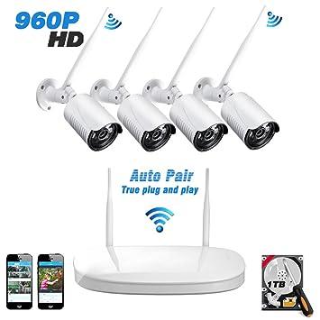 Kit Cámaras de Vigilancia WiFi Exterior / Interior 960P, 1TB HDD, 4CH NVR, IP Cámara Vigilancia x ...