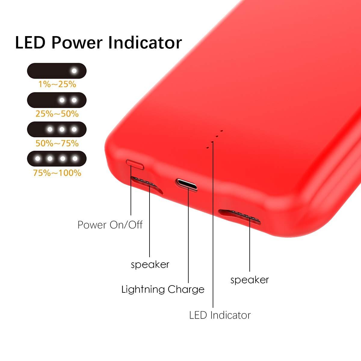 Rouge Happon Cover Batteria iPhone XS Max 5000mAh Custodia Ricaricabile con Batteria Esterna Caricabatterie Cover Battery Case Batteria Protettiva Power Bank Backup Charger Case