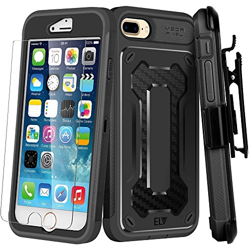 iPhone 8 Plus Case, E LV iPhone 7 Plus Case - Belt Clip / Kickstand - Dual Layer Rugged Armor Holster Defender Full Body Protective Case Cover for Apple iPhone 7 Plus / iPhone 8 Plus [BLACK/BLACK]