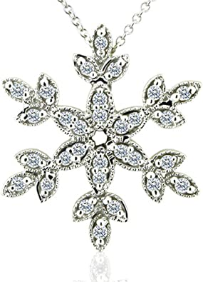 Best Quality Free Gift Box 14k White Gold Snowflake Pendant