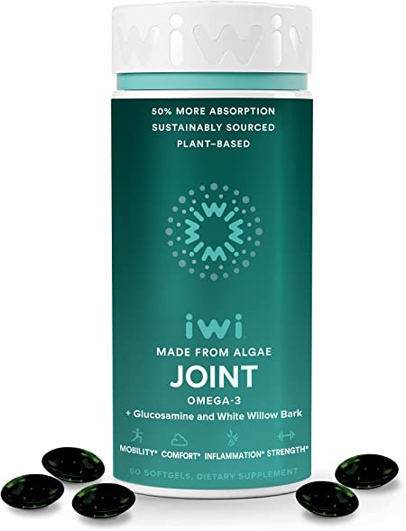 iwi Joint Supports Healthy Bones & Strong Joints for Stiffness Relief, Better Flexibility & Mobility   Vegan Algae Omega 3 with Glucosamine HCL, Curcumin & Salicin - White Willow Bark  30 Day Supply