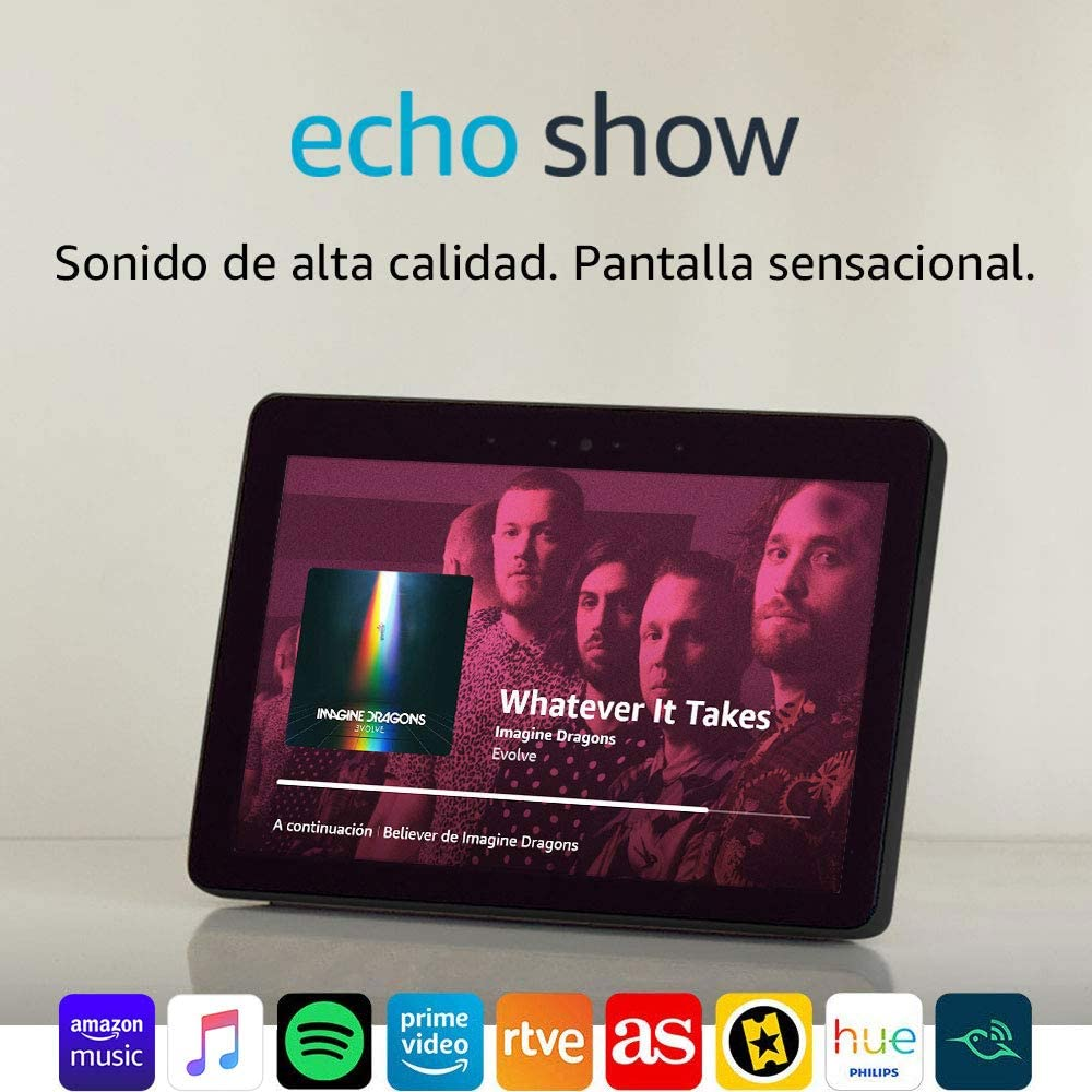 Echo Show (2.ª generación) – Sonido de alta calidad y sensacional pantalla HD de 10 pulgadas, negro + Bombilla Philips Hue White LED E27