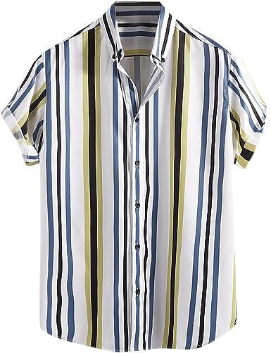 Dragon868 Camisas de Rayas Casuales Hombre Camisa de Manga Corta con Cuello Alto para Hombre: Amazon.es: Ropa y accesorios