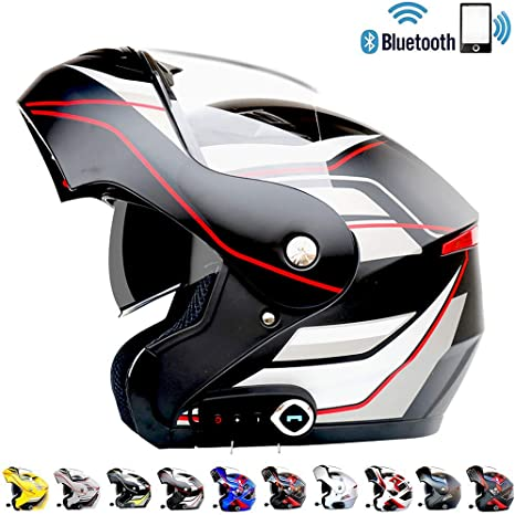 LSY Casco de Moto Bluetooth Flip Up con Anti-Fog Visor de Doble ...