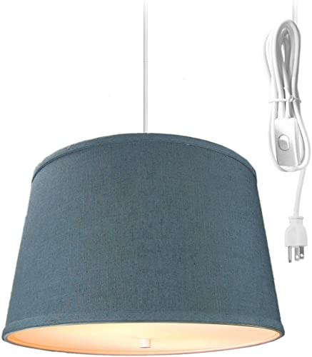 2 Light Swag Plug-in Pendant 16″w Textured Slate Blue