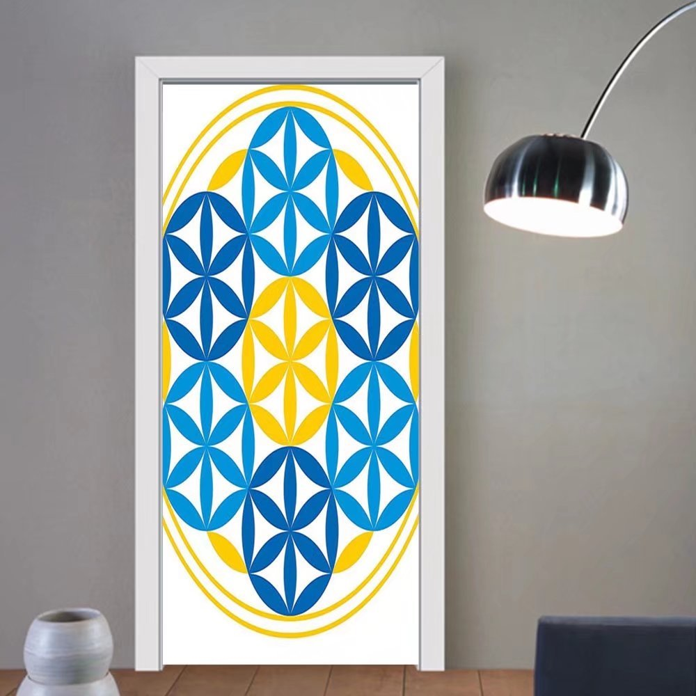 Gzhihine custom made 3d door stickers Sacred Geometrty Decor Psychedelic Flower of Life with Modern Hallucinatory Hexagon Artwork Multi For Room Decor 30x79