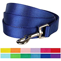 "Blueberry Pet 12 Colors Durable Classic Dog Leash 5 ft x 5/8"", Royal Blue, Small, Basic Nylon Leashes for Dogs"
