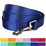 "Blueberry Pet 12 Colors Durable Classic Dog Leash 5 ft x 3/4"", Royal Blue, Medium, Basic Nylon Leashes for Dogs"