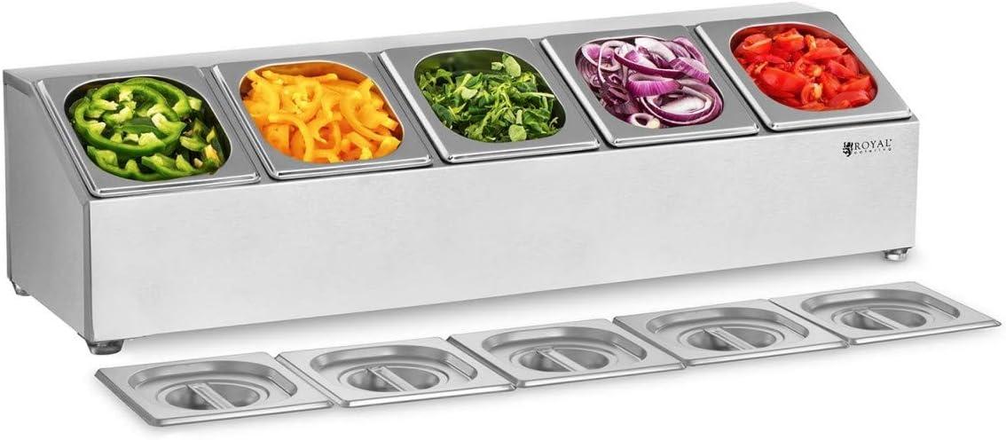 Royal Catering Soporte Para Cubetas RCPN 5 (Acero inoxidable, Componentes extraíbles aptos para lavavajillas, Incluye 5 envases GN 1/6, Con 5 tapaderas)
