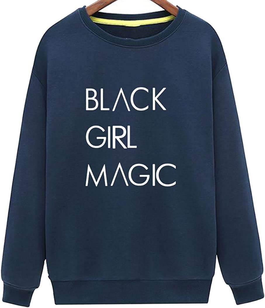 CINFUN Womens Black Girl Magic Funny Casual Loose Sweatshirt