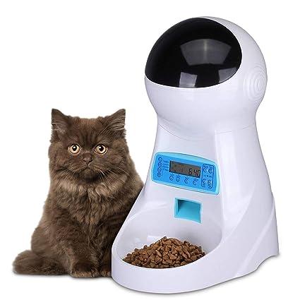 PETCUTE Comedero automatico para Perros dispensador de Comida para Gatos con Recordatorio por Voz y Temporizador