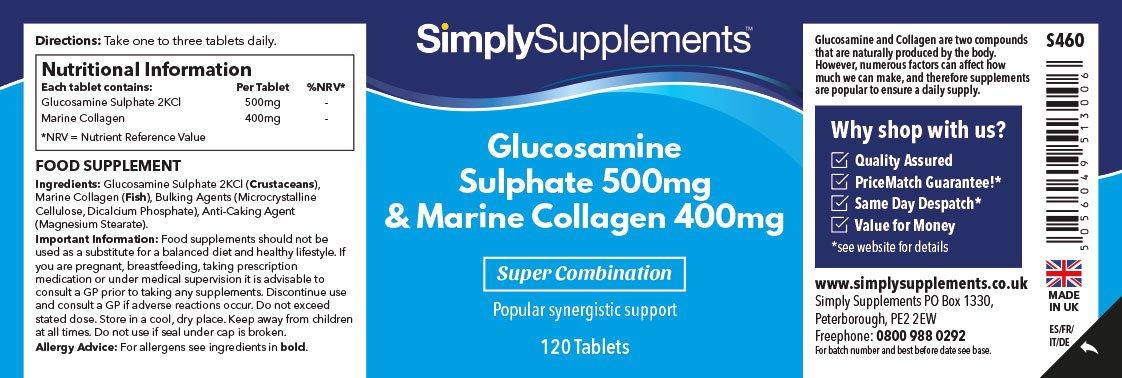 Glucosamina 500mg y Colágeno Marino 400mg - 240 comprimidos (Dos frascos de 120) - Hasta 8 meses de suministro - Favorece la salud de tus articulaciones ...