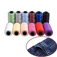 Candora® Ensemble de fil Jeans, Polyester Bobine de fil à coudre 12couleurs 164,6m/165m très épais pour Denim Cuir Lit Couverture Coussin Rideau faite main