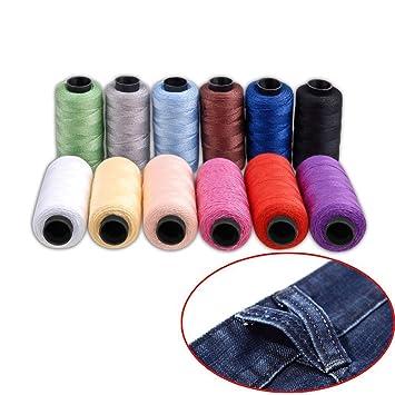 Set de bobinas de hilo de coser Jeans de Candora®, de poliéster, 12
