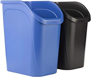 Rubbermaid 9.4G Undercounter Wastebasket 2 Pack, Blue and Black for Dual Stream Waste and Recycling