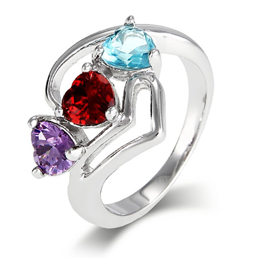 Close to the Heart 3 Simulated Stone Modern Hearts Ring