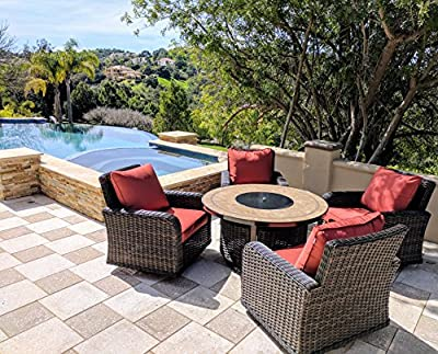 JOYPANDA 5 Piece Gas Firepit Set, Includes 4 Cushioned Rattan Wicker Rocker Sofa Chairs and 50-Inch Tile-top Firepit Table
