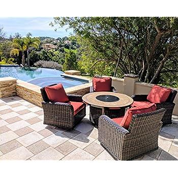 Amazoncom Piece Modern Fire Pit Table Bowl W Outdoor Patio - Outdoor gas fire pit table and chairs