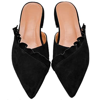 51735c01dc52d Comfity Mules for Women, Women's Slip On Ruffle Trimmed Slides Pointed Toe  Backless Slippers Flats Sandals