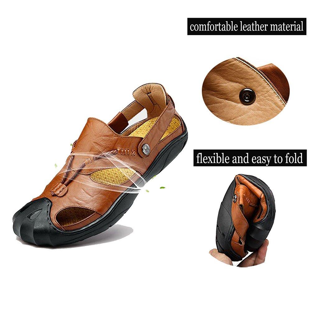 brand new 75ac8 e4279 Orlasha Hombres Deportes Sandalias de cuero Sandalias de pescador Verano  cerrado del dedo del pie Zapatos de playa al aire libre Zapatillas de agua  Negro