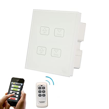WALLPAD White Glass Panel 2 Gang RF WiFi App Remote Dimmer Switch