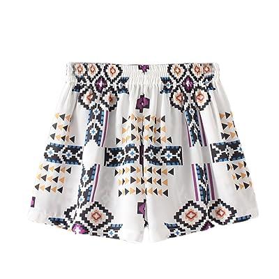 Amyove Shorts Women Fashionable Middle Waist Floral Printing Lace Hem Shorts High Elastic Shorts
