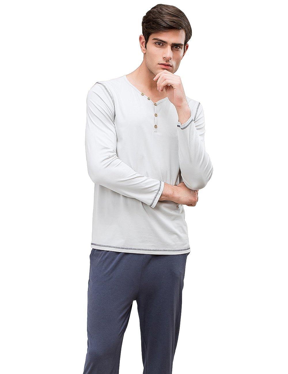 QianXiu Primavera Estate Stagione Set da uomo pigiama Manica Corta indumenti da notte Cotone pigiameria Tempo libero Pigiami Home Abbigliamento
