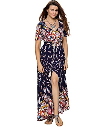 f864a8460e3 Aofur Women s Button Up Split Floral Print Flowy Summer Bohemia Evening  Party Cocktial Long Maxi Dress at Amazon Women s Clothing store