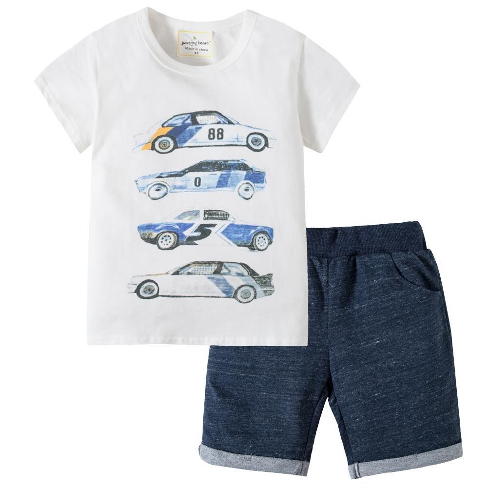 Bleubell Teddlor Boys Car T-Shirt Pant Set Summer Jersey Play Set 3T