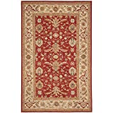 Safavieh Chelsea Collection HK751A Hand-Hooked Red and Ivory Premium Wool Area Rug (5'3'' x 8'3'')