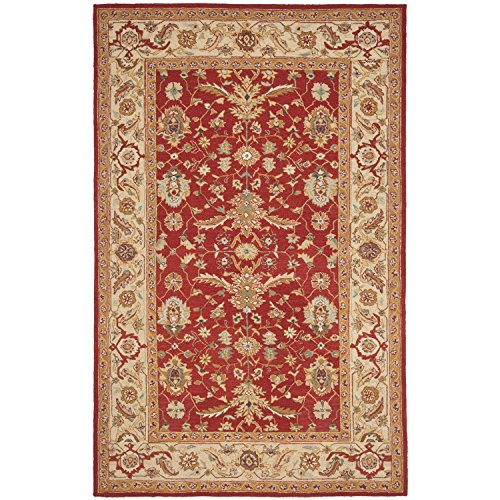 Safavieh Chelsea Collection HK751A Hand-Hooked Red and Ivory Premium Wool Area Rug (5'3'' x 8'3'') by Safavieh