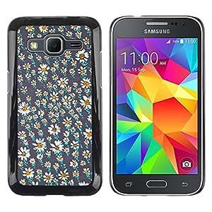 LECELL--Funda protectora / Cubierta / Piel For Samsung Galaxy Core Prime SM-G360 -- Flower Field Wallpaper Teal Pretty --