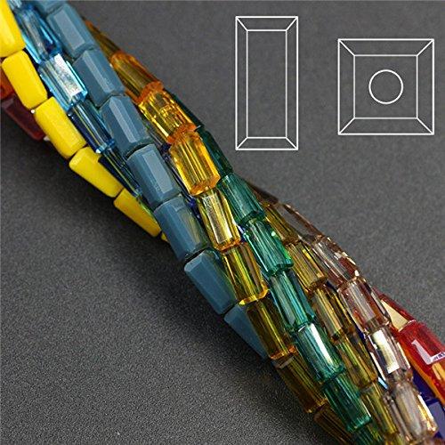 Multi 3x6mm 80pcs Rectangular Crystal Glass Loose Beads Long Square Bead Multicolor Miyuki Beads Accessories Craft for DIY (Rectangular Spacer Beads)
