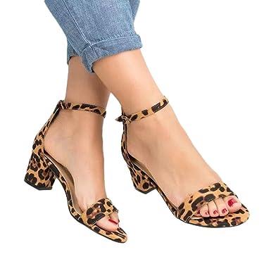 54fbdae4c6f Women s Chunky Low Heel Sandals Fashion Open Toe Ankle Buckle Leopard  Summer Dress Pump Shoes (