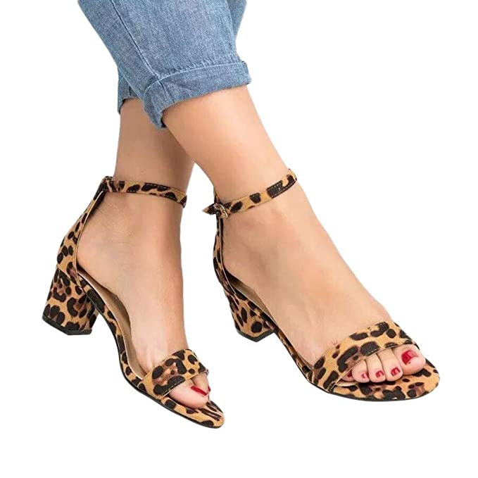 71014be8e7d Amazon.com  Womens Summer Sexy Leopard Print Sandals - Ladies One Word  Buckle Ankle Strap Chunky Thick Heel Peep Toe Sandals Shoes  Clothing