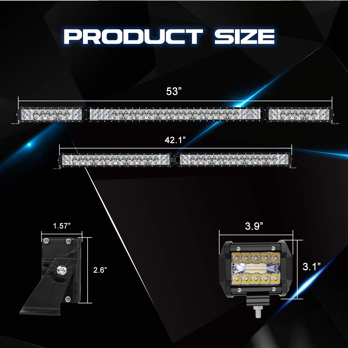 LED Light Bar Kit 4PCS 4 30W LED Light Pods Fit For Jeep Truck ATV Rigidhorse 76000LM 42 Inch 400W 3 Years Warranty 22 Inch 220W Flood Spot Beam Combo White LED Light Bars