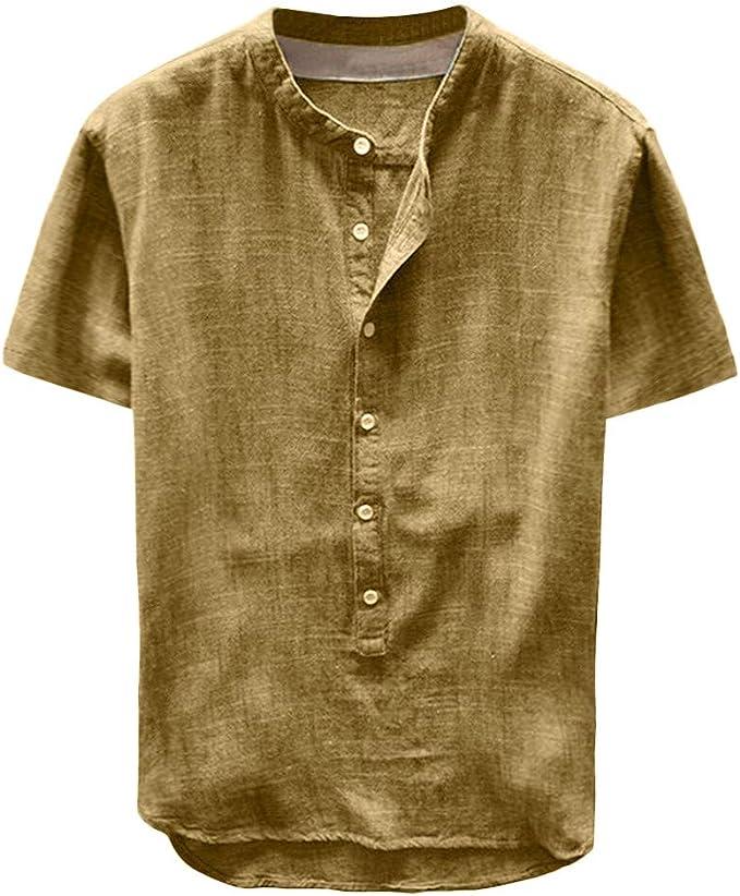 Camisa Hombre Verano Algodón y Lino Manga Corta Color sólido Camiseta Moda Casual Suelto T-Shirt Blusas Camisas Camiseta Cuello en v Suave básica Camiseta Top vpass: Amazon.es: Ropa y accesorios