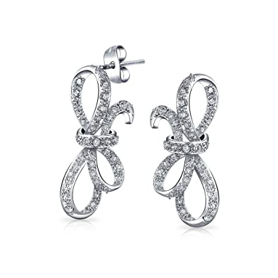 a3e477d4e Ribbon Prom Bridal Bow Holiday Pave CZ Stud Earrings For Women Cubic  Zirconia Silver Plated Brass: Amazon.co.uk: Jewellery